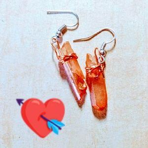 HM OOAK Wire wrap Tangerine Aura Crystals